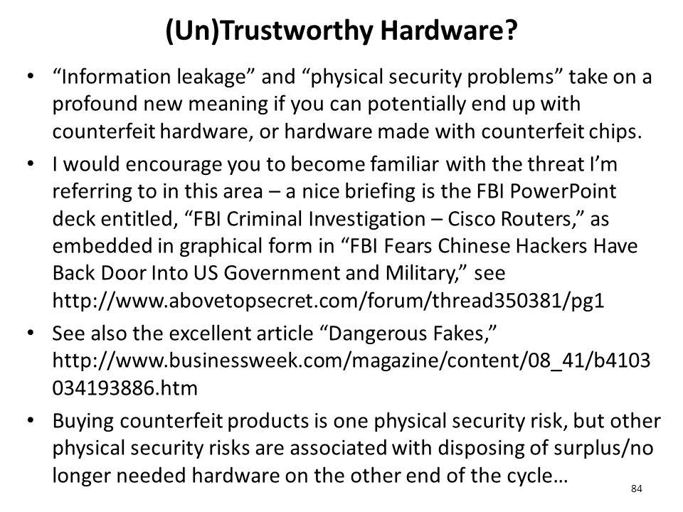 (Un)Trustworthy Hardware.