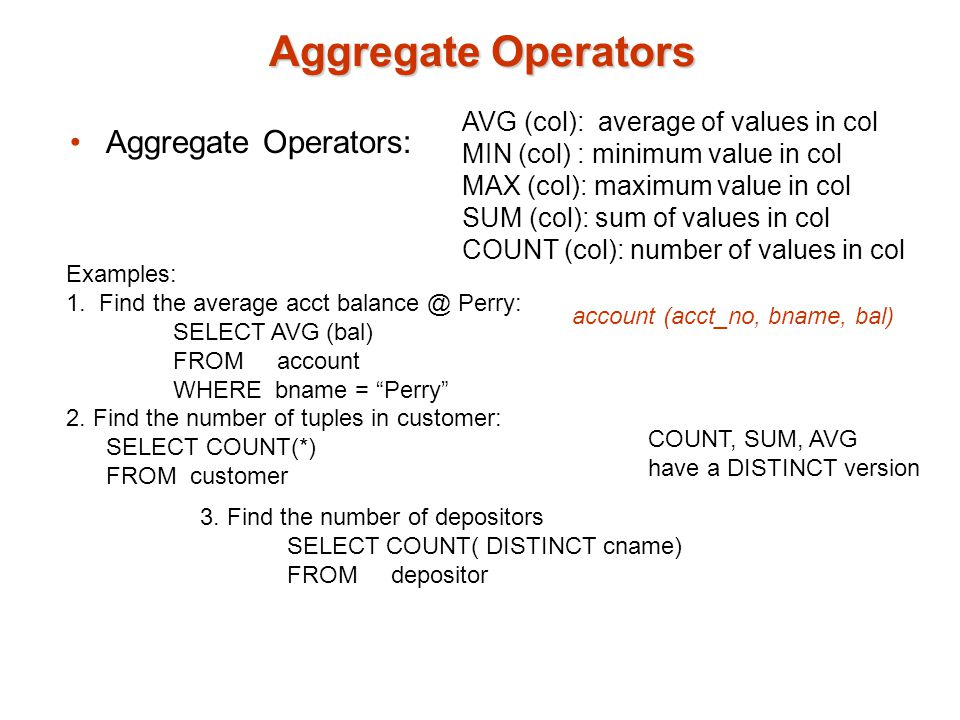 Aggregate Operators Aggregate Operators: AVG (col): average of values in col MIN (col) : minimum value in col MAX (col): maximum value in col SUM (col): sum of values in col COUNT (col): number of values in col Examples: 1.