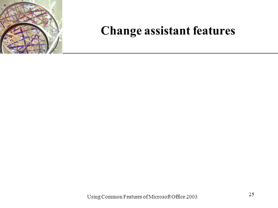 XP Using Common Features of Microsoft Office Change assistant features