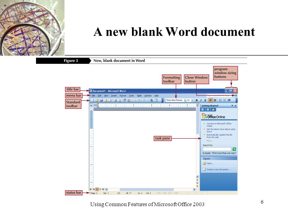 XP Using Common Features of Microsoft Office A new blank Word document
