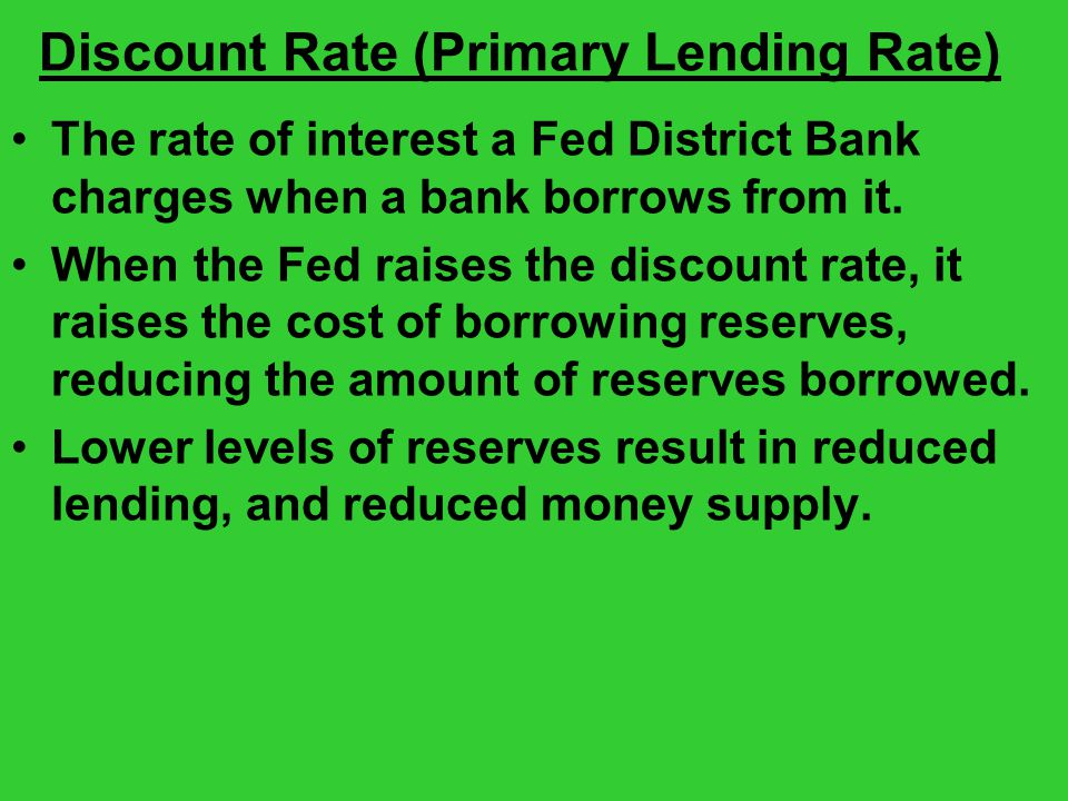 Discount Rate (Primary Lending Rate) The rate of interest a Fed District Bank charges when a bank borrows from it.