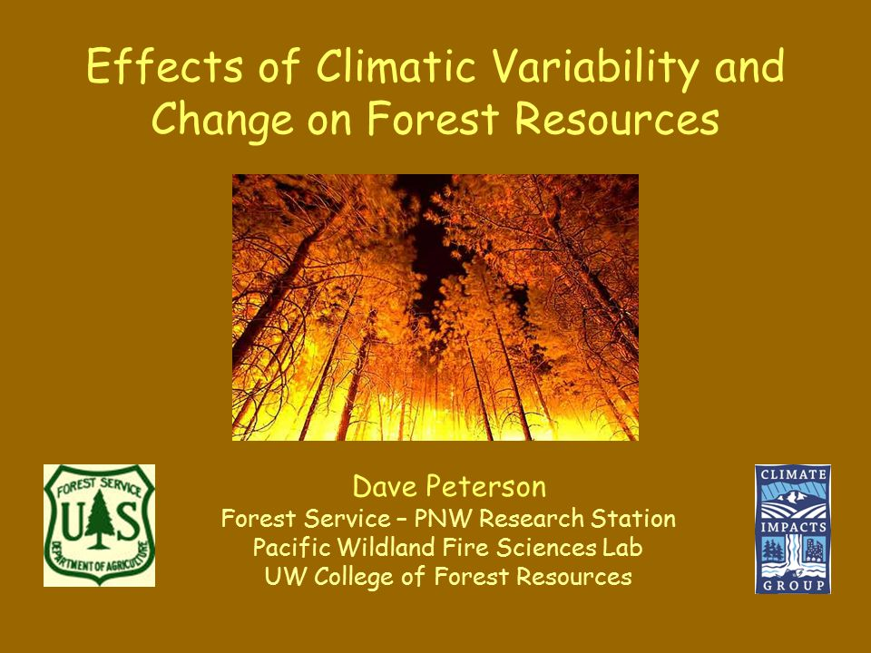 Effects of Climatic Variability and Change on Forest Resources Dave Peterson Forest Service – PNW Research Station Pacific Wildland Fire Sciences Lab UW College of Forest Resources