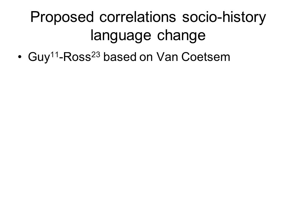 Proposed correlations socio-history language change Guy 11 -Ross 23 based on Van Coetsem