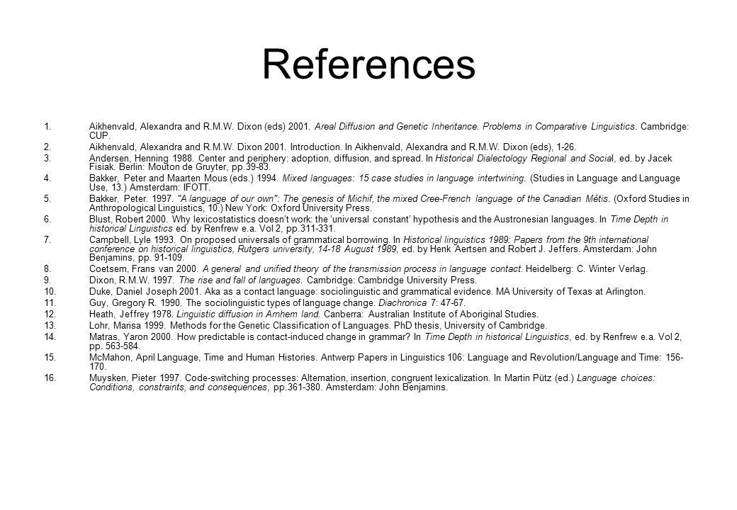 References 1.Aikhenvald, Alexandra and R.M.W. Dixon (eds) 2001.