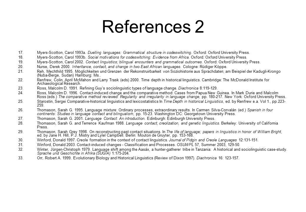 References 2 17.Myers-Scotton, Carol 1993a.