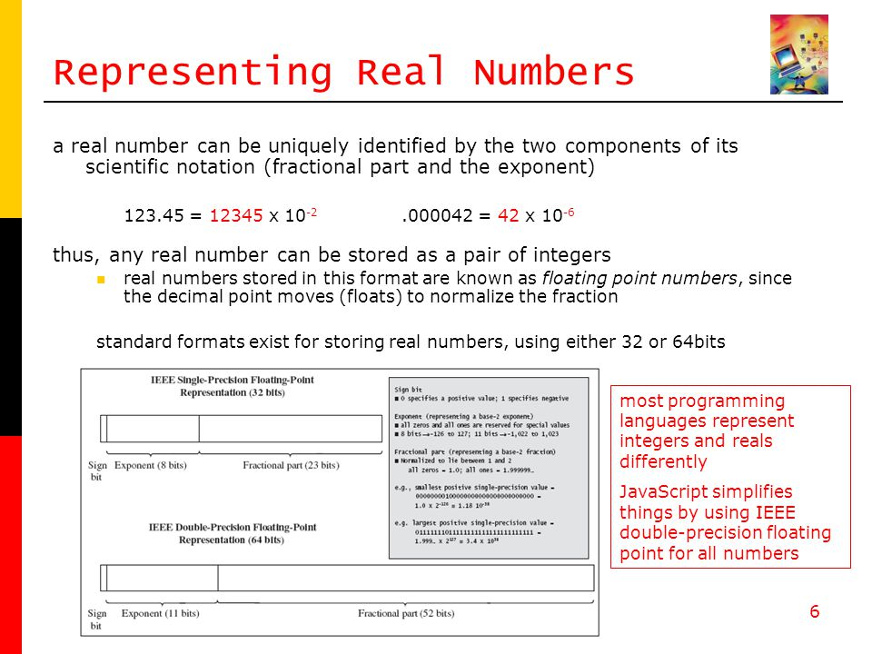6 Representing Real Numbers a real number can be uniquely identified by the two components of its scientific notation (fractional part and the exponent) = x = 42 x thus, any real number can be stored as a pair of integers real numbers stored in this format are known as floating point numbers, since the decimal point moves (floats) to normalize the fraction standard formats exist for storing real numbers, using either 32 or 64bits most programming languages represent integers and reals differently JavaScript simplifies things by using IEEE double-precision floating point for all numbers