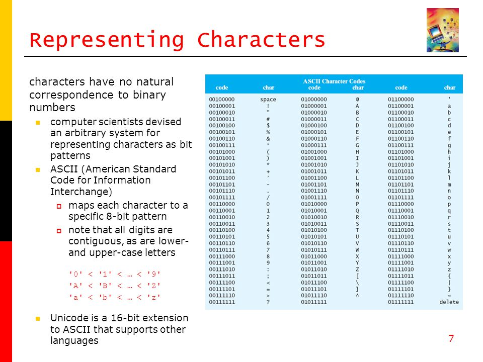 7 Representing Characters characters have no natural correspondence to binary numbers computer scientists devised an arbitrary system for representing characters as bit patterns ASCII (American Standard Code for Information Interchange)  maps each character to a specific 8-bit pattern  note that all digits are contiguous, as are lower- and upper-case letters 0 < 1 < … < 9 A < B < … < Z a < b < … < z Unicode is a 16-bit extension to ASCII that supports other languages