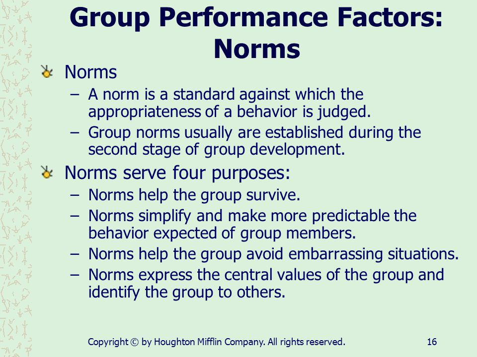 Copyright © by Houghton Mifflin Company. All rights reserved.16 Group Performance Factors: Norms Norms –A norm is a standard against which the appropr