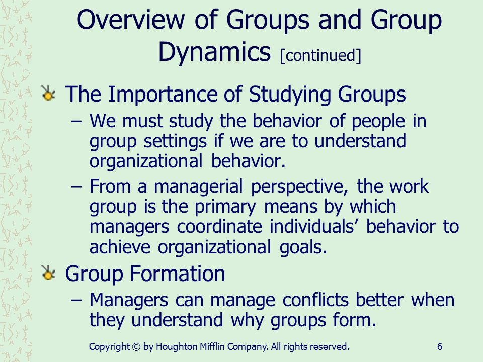 Copyright © by Houghton Mifflin Company. All rights reserved.6 Overview of Groups and Group Dynamics [continued] The Importance of Studying Groups –We