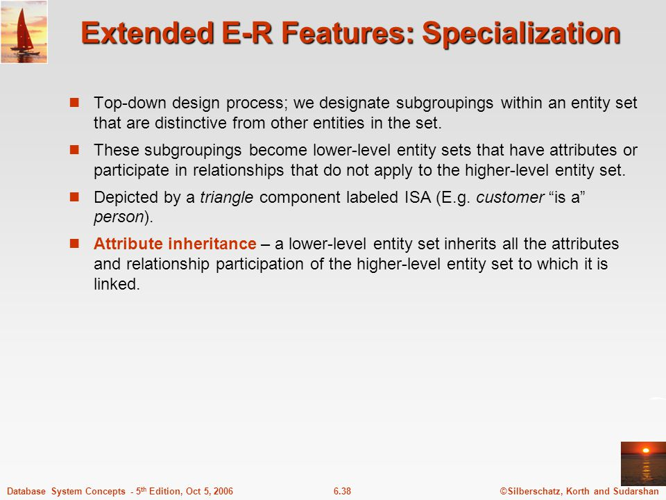 ©Silberschatz, Korth and Sudarshan6.38Database System Concepts - 5 th Edition, Oct 5, 2006 Extended E-R Features: Specialization Top-down design process; we designate subgroupings within an entity set that are distinctive from other entities in the set.