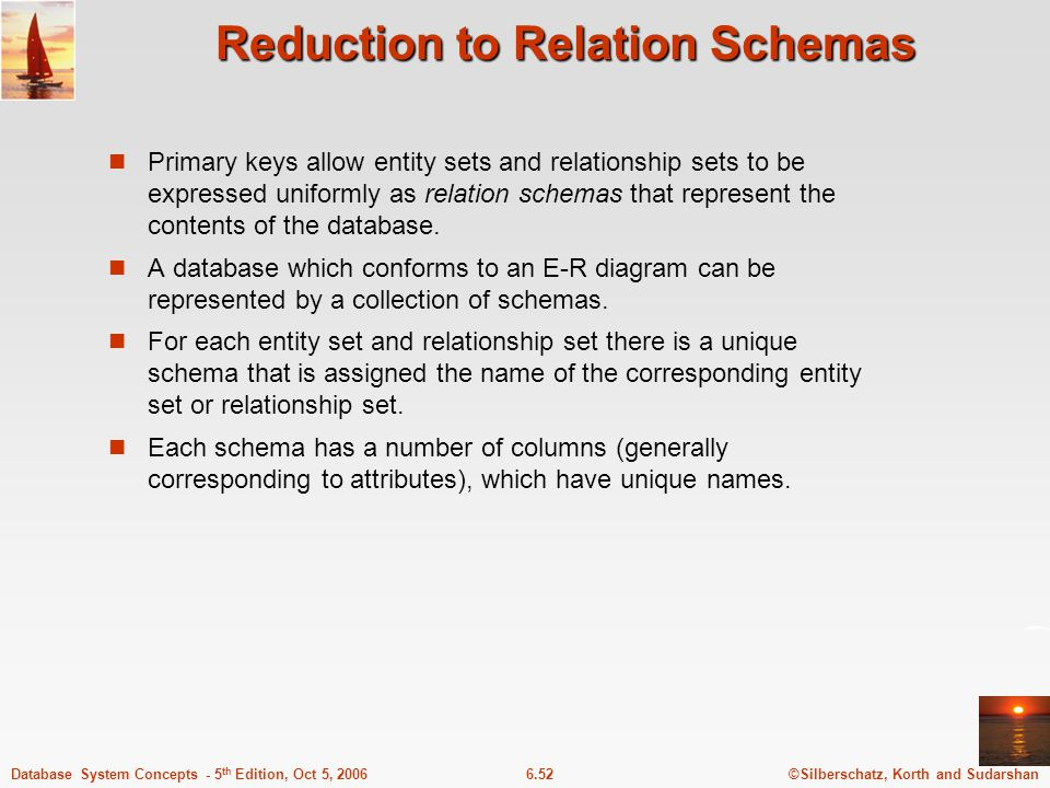 ©Silberschatz, Korth and Sudarshan6.52Database System Concepts - 5 th Edition, Oct 5, 2006 Reduction to Relation Schemas Primary keys allow entity sets and relationship sets to be expressed uniformly as relation schemas that represent the contents of the database.