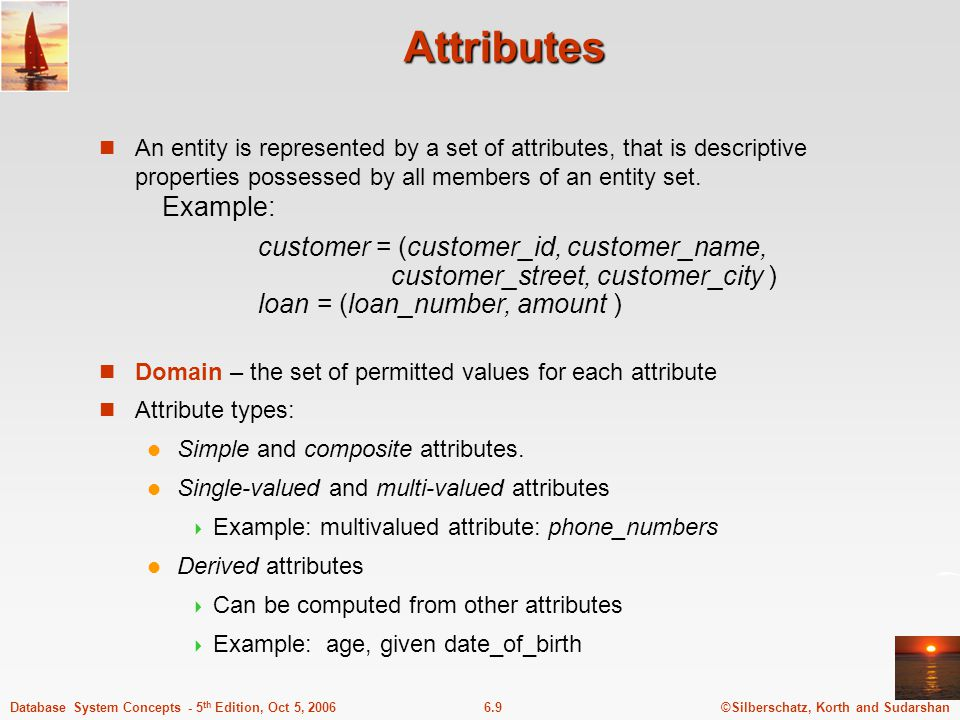 ©Silberschatz, Korth and Sudarshan6.9Database System Concepts - 5 th Edition, Oct 5, 2006 Attributes An entity is represented by a set of attributes, that is descriptive properties possessed by all members of an entity set.