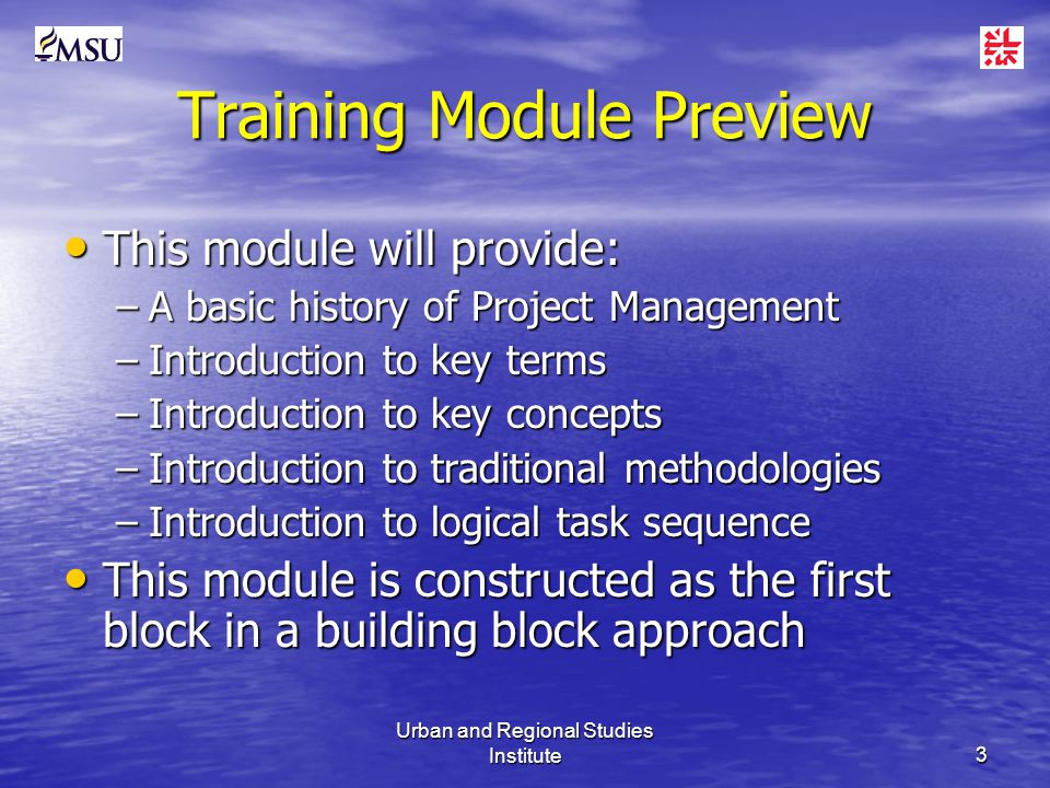 Urban and Regional Studies Institute3 Training Module Preview This module will provide: This module will provide: –A basic history of Project Management –Introduction to key terms –Introduction to key concepts –Introduction to traditional methodologies –Introduction to logical task sequence This module is constructed as the first block in a building block approach This module is constructed as the first block in a building block approach