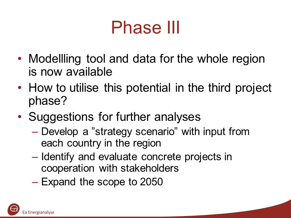 Phase III Modellling tool and data for the whole region is now available How to utilise this potential in the third project phase.