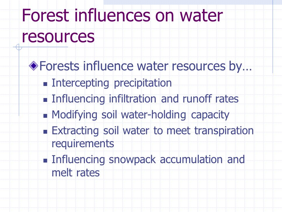 Forest influences on water resources Forests influence water resources by… Intercepting precipitation Influencing infiltration and runoff rates Modifying soil water-holding capacity Extracting soil water to meet transpiration requirements Influencing snowpack accumulation and melt rates