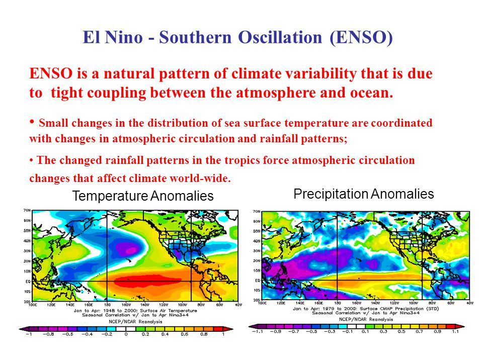 Precipitation Anomalies El Nino - Southern Oscillation (ENSO) ENSO is a natural pattern of climate variability that is due to tight coupling between the atmosphere and ocean.