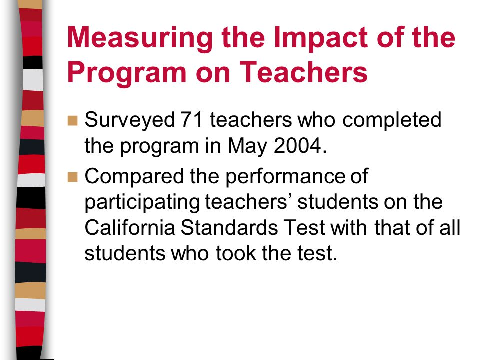 Measuring the Impact of the Program on Teachers Surveyed 71 teachers who completed the program in May 2004.