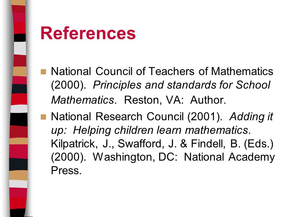 References National Council of Teachers of Mathematics (2000).
