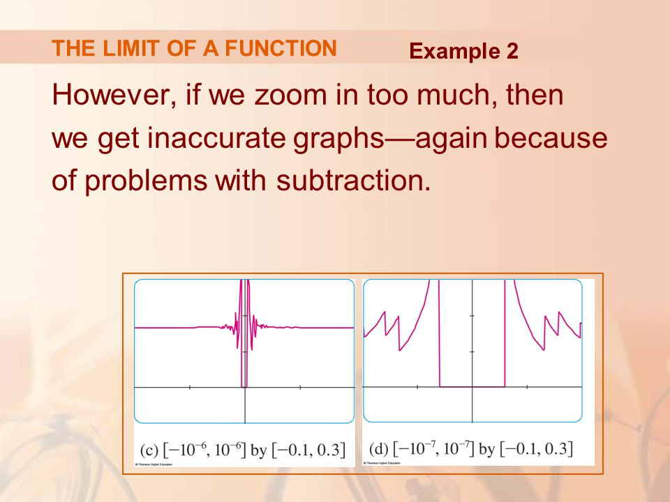 However, if we zoom in too much, then we get inaccurate graphs—again because of problems with subtraction.
