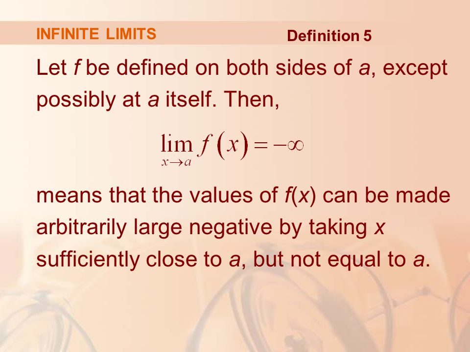 Let f be defined on both sides of a, except possibly at a itself.