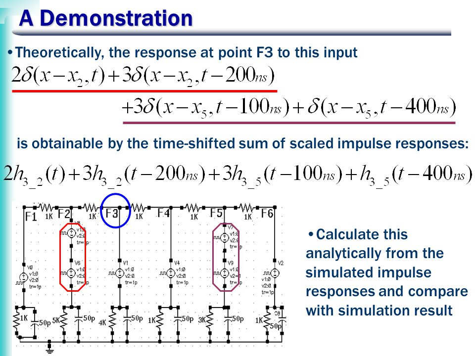 A Demonstration Theoretically, the response at point F3 to this input is obtainable by the time-shifted sum of scaled impulse responses: Calculate this analytically from the simulated impulse responses and compare with simulation result