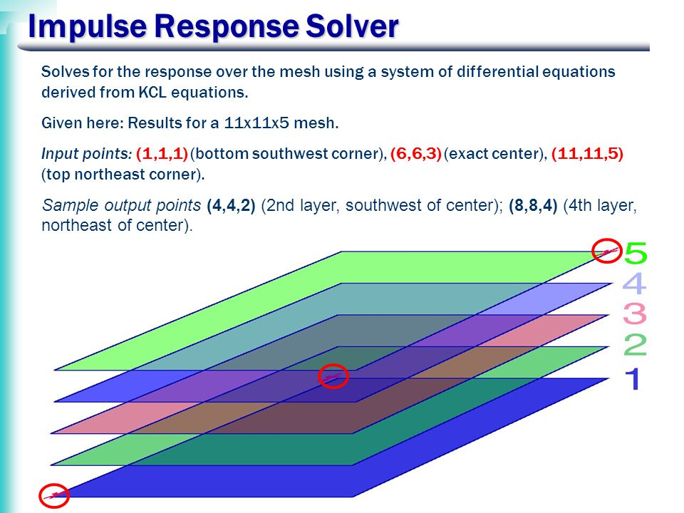 Impulse Response Solver Solves for the response over the mesh using a system of differential equations derived from KCL equations.