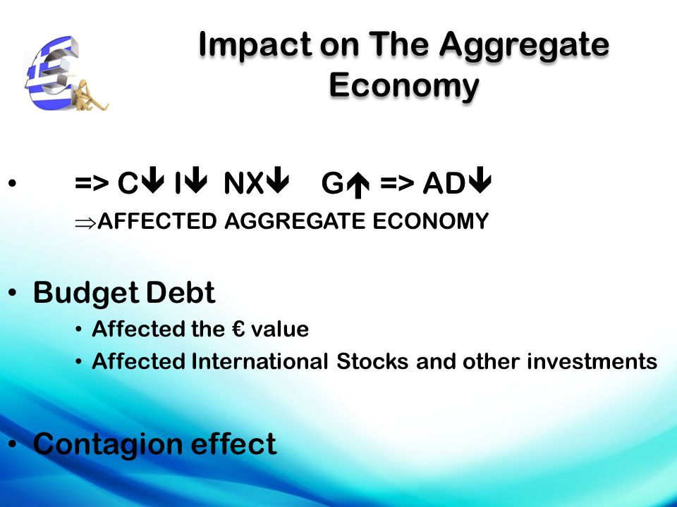 Impact on The Aggregate Economy => C  I  NX  G  => AD   AFFECTED AGGREGATE ECONOMY Budget Debt Affected the € value Affected International Stocks and other investments Contagion effect