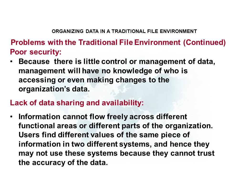 Because there is little control or management of data, management will have no knowledge of who is accessing or even making changes to the organization's data.