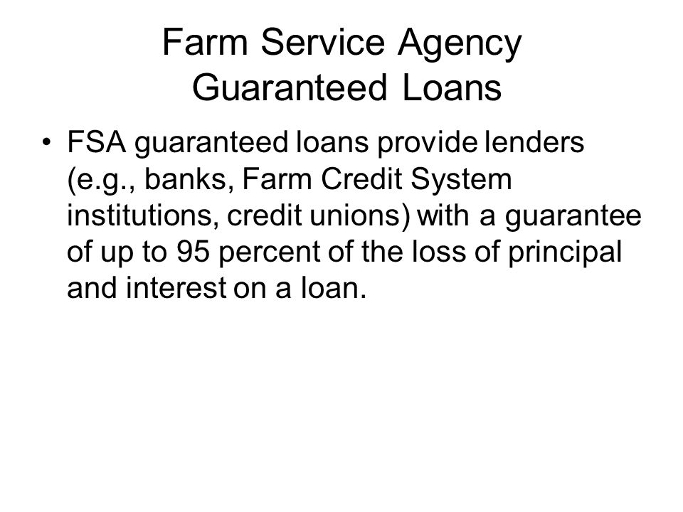 Farm Service Agency Guaranteed Loans FSA guaranteed loans provide lenders (e.g., banks, Farm Credit System institutions, credit unions) with a guarantee of up to 95 percent of the loss of principal and interest on a loan.