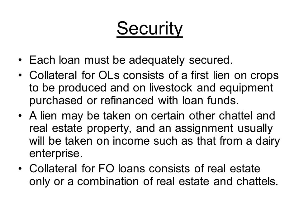 Security Each loan must be adequately secured.
