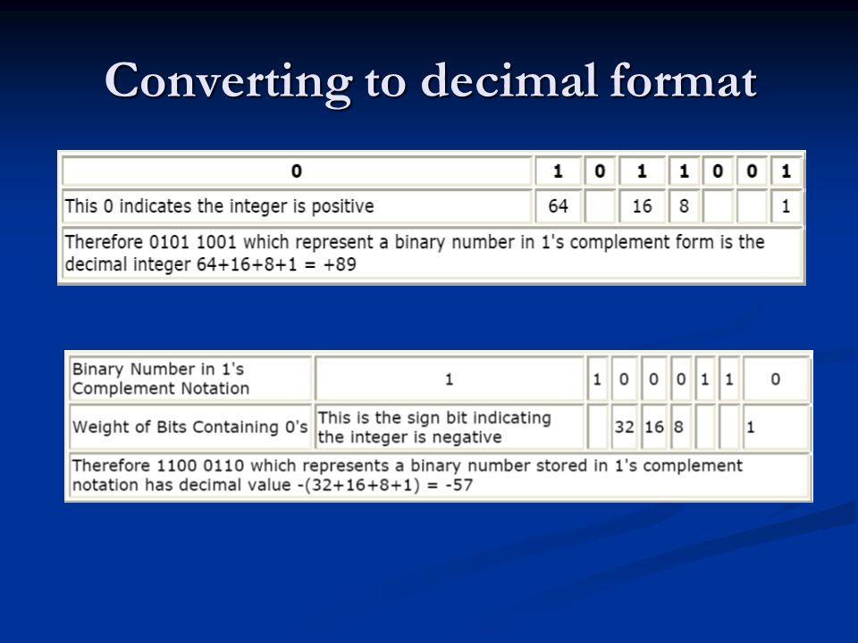 Converting to decimal format