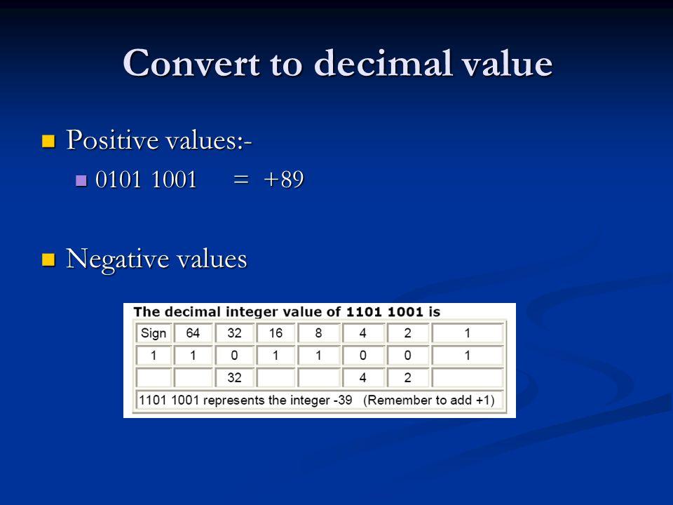 Convert to decimal value Positive values:- Positive values:- 0101 1001 = +89 0101 1001 = +89 Negative values Negative values