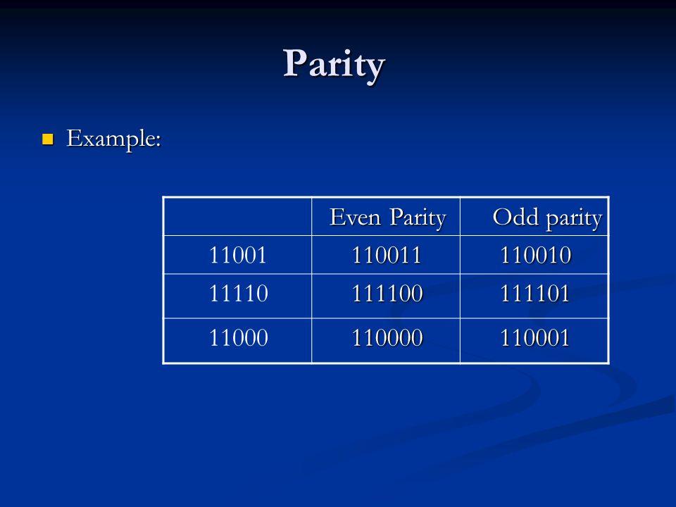 Parity Example: Example: Odd parity Even Parity 11001011001111001 11110111110011110 11000111000011000