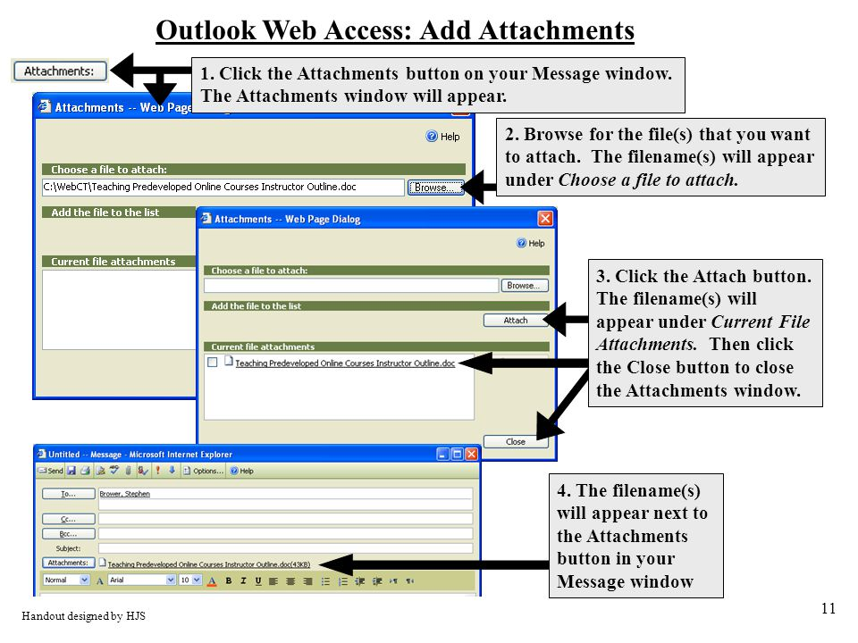 11 Outlook Web Access: Add Attachments Handout designed by HJS 2.