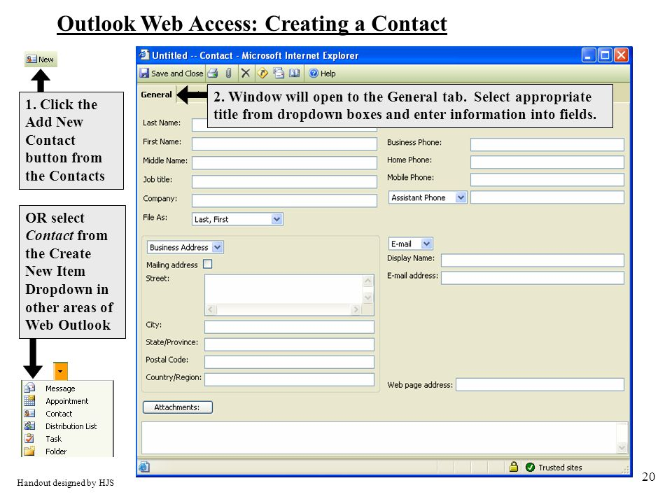 20 Outlook Web Access: Creating a Contact 1.