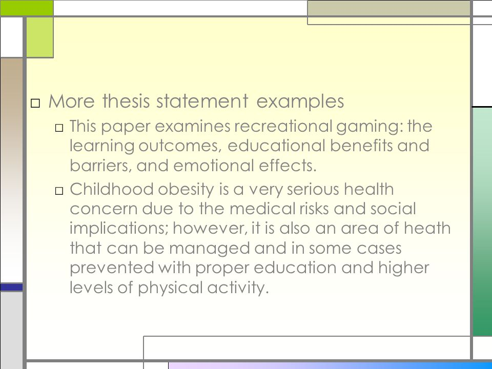 thesis statement on obesity