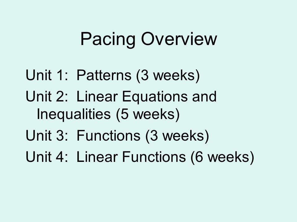 Pacing Overview Unit 1: Patterns (3 weeks) Unit 2: Linear Equations and Inequalities (5 weeks) Unit 3: Functions (3 weeks) Unit 4: Linear Functions (6 weeks)