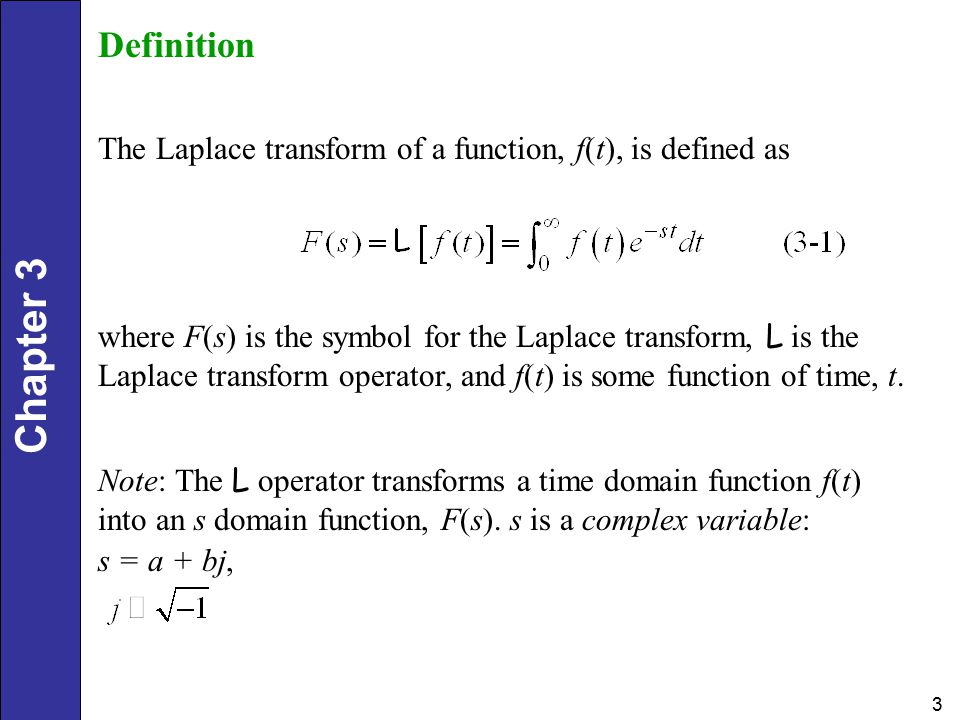 Chapter 3 3 Definition The Laplace transform of a function, f(t), is defined as where F(s) is the symbol for the Laplace transform, L is the Laplace transform operator, and f(t) is some function of time, t.