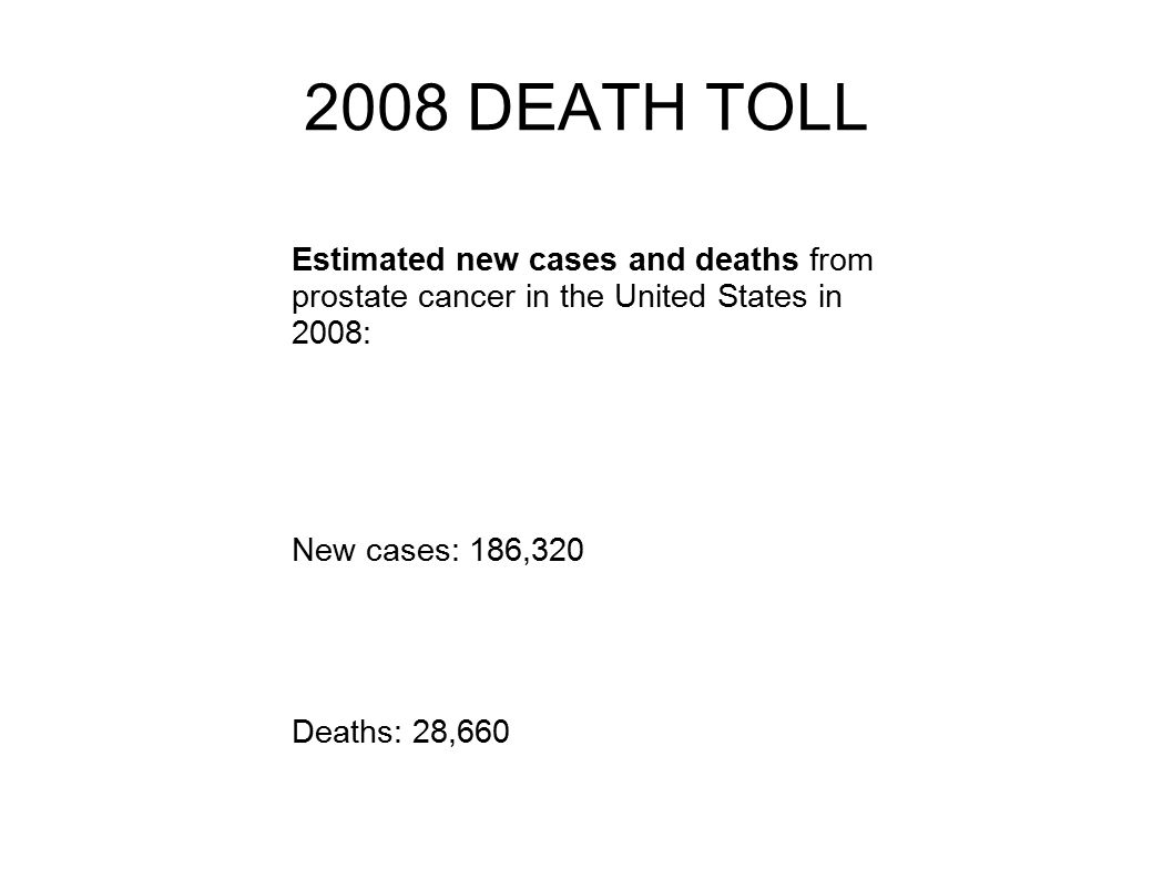 Estimated new cases and deaths from prostate cancer in the United States in 2008: New cases: 186,320 Deaths: 28, DEATH TOLL