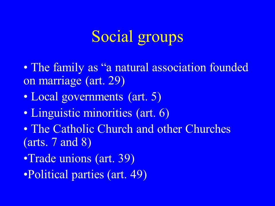Social groups The family as a natural association founded on marriage (art.