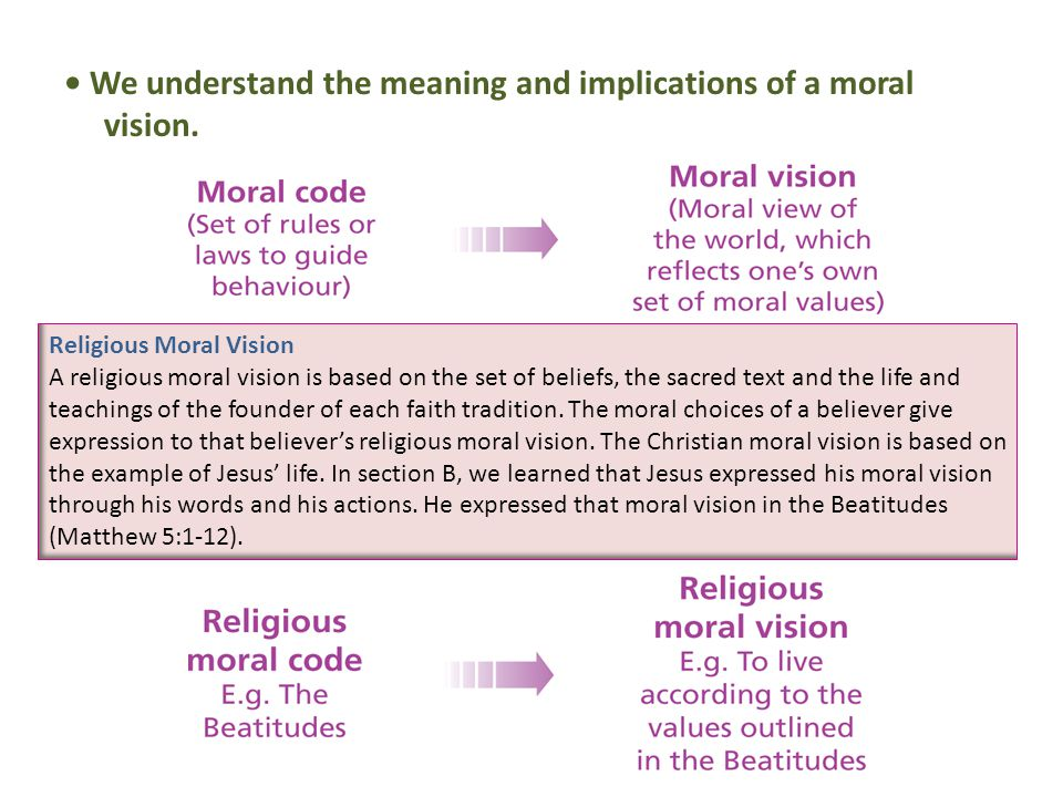 We understand the meaning and implications of a moral vision.