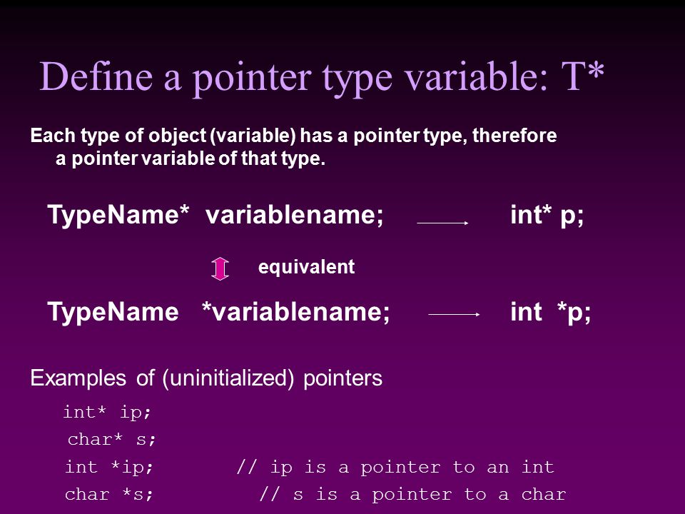 Define a pointer type variable: T* Examples of (uninitialized) pointers int* ip; char* s; int *ip; // ip is a pointer to an int char *s; // s is a pointer to a char TypeName *variablename; int *p; Each type of object (variable) has a pointer type, therefore a pointer variable of that type.