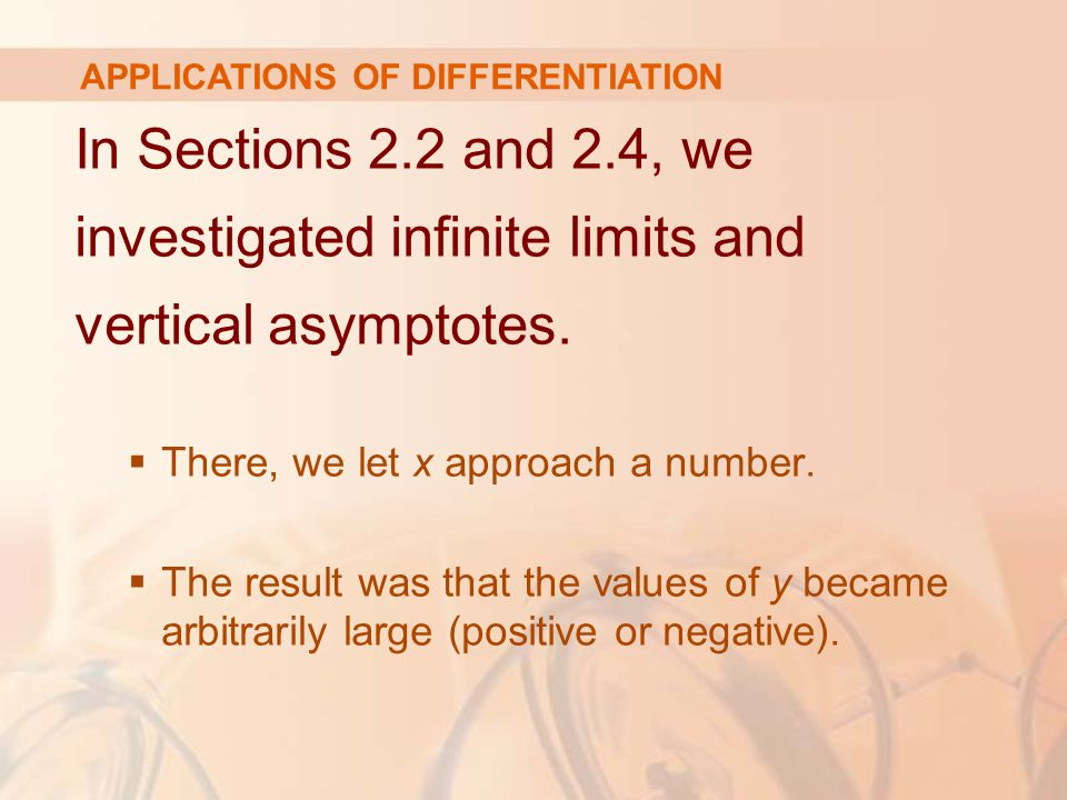 In Sections 2.2 and 2.4, we investigated infinite limits and vertical asymptotes.
