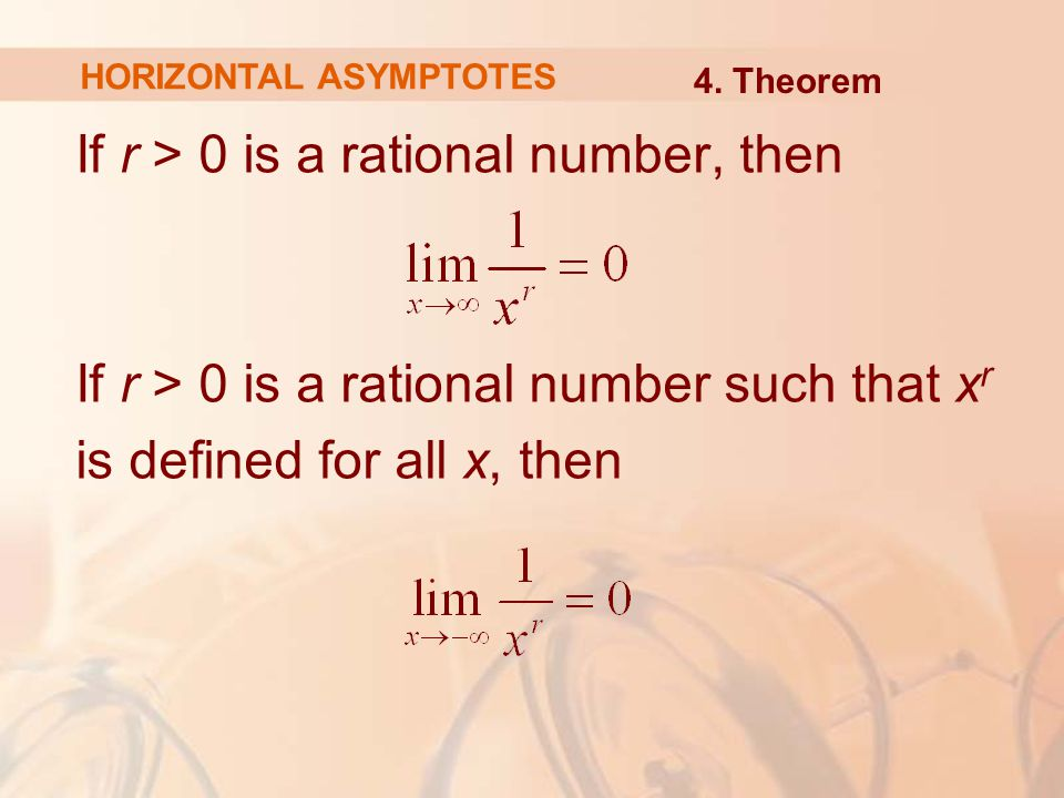 If r > 0 is a rational number, then If r > 0 is a rational number such that x r is defined for all x, then HORIZONTAL ASYMPTOTES 4.