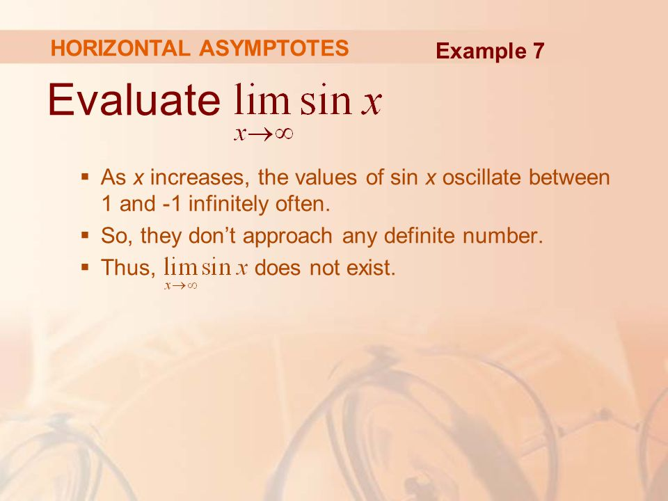 Evaluate  As x increases, the values of sin x oscillate between 1 and -1 infinitely often.