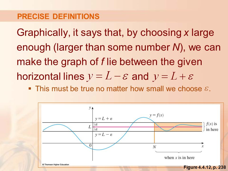 Graphically, it says that, by choosing x large enough (larger than some number N), we can make the graph of f lie between the given horizontal lines and  This must be true no matter how small we choose.