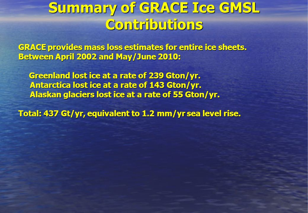 Summary of GRACE Ice GMSL Contributions GRACE provides mass loss estimates for entire ice sheets.