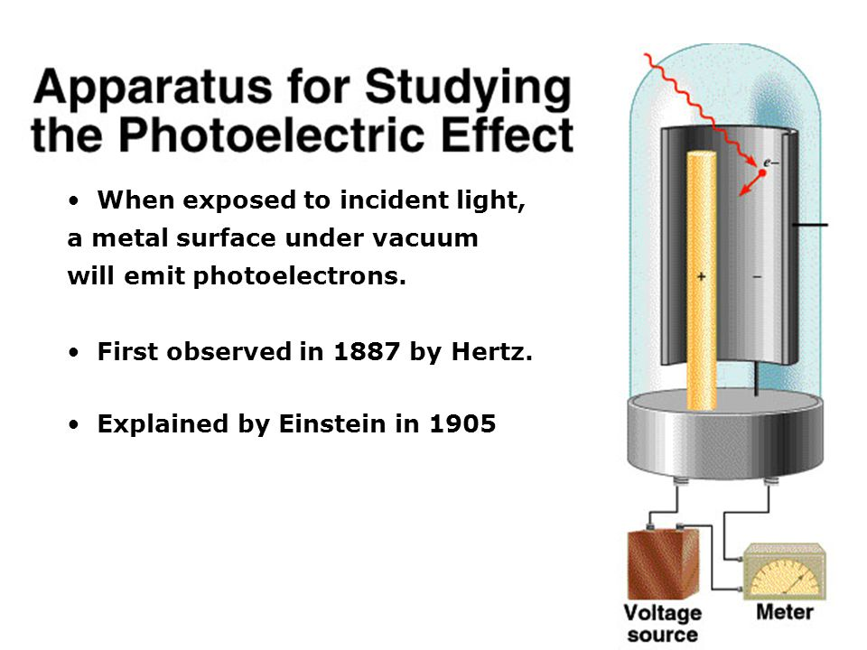 When exposed to incident light, a metal surface under vacuum will emit photoelectrons.