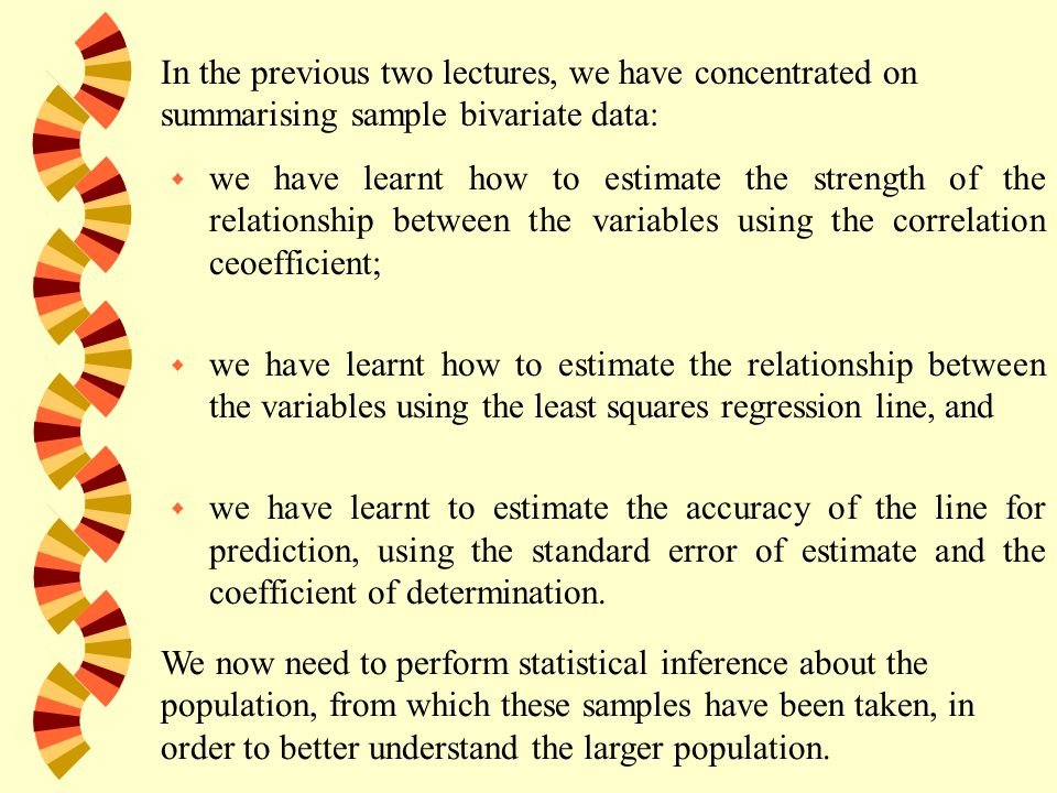 w we have learnt how to estimate the strength of the relationship between the variables using the correlation ceoefficient; w we have learnt how to estimate the relationship between the variables using the least squares regression line, and w we have learnt to estimate the accuracy of the line for prediction, using the standard error of estimate and the coefficient of determination.
