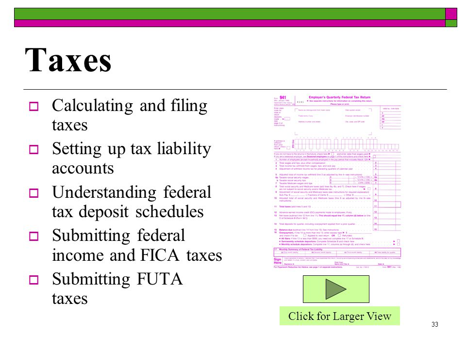 32 Handling Payroll Electronically  Create, update, and delete employee payroll information files  Prepare employee paychecks, stubs and W-2 forms  Update and print employee earnings records  Update all appropriate bookkeeping records, such as payroll ledger and general ledger with payroll data.